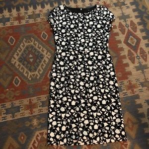 Ann Taylor Floral Black and White Dress